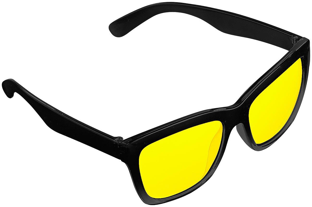 PEARL Nachtsichtbrille: Kontrastverstä rkende Nachtsicht-Brille Night Vision im Retro-Look (Nachtfahr Kontrast Brillen)