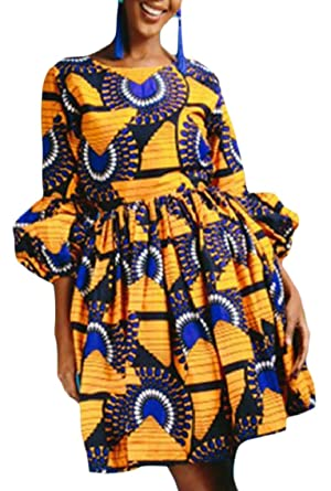 7b3b8be168 Hokny TD Women African Print Dresses Puffy 3/4 Sleeves Ankara Dress at Amazon  Women's Clothing store: