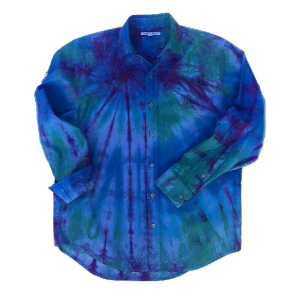 Blue Tie Dye Button Up Shirt, OOAK - S