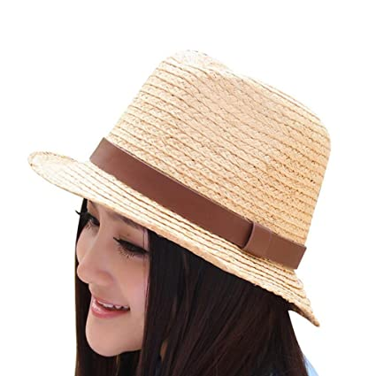 QZ HOME Verano Natural Sombrero De Paja De Rafia Sra. Aire Libre Protección  Solar El 6efda73aed3