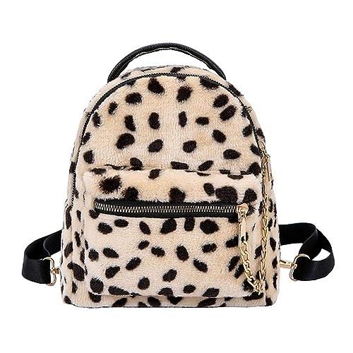 c98db67691 Aediea New Design Leopard Chain Backpack Travel Bag Women Girls Students  School Bag (Beige)
