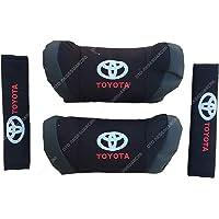 Oto Aksesuarcım Toyota Nakışlı Deri Araç Boyun Yastığı Seti Siyah