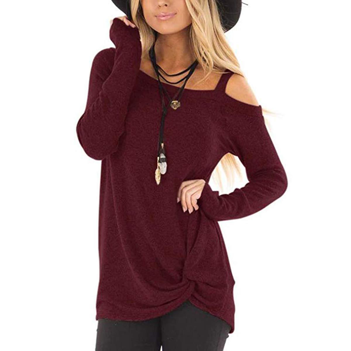 Coldshoulder Burgundy Ilfioreemio Women Knit Tunic Top Round Neck Blouse Knot Twist Front Long Sleeve Casual Soft Sweatshirt