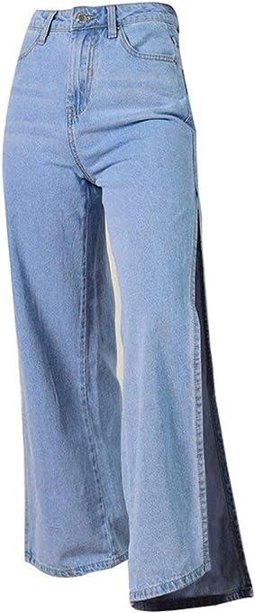 Pantalon Ancho Para Mujer Talle Pantalon Abierto De Alto Modernas Casual Slim Fit Pantalon De Jean Boton Exterior Pierna Ancha Denim Amazon Es Ropa Y Accesorios