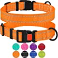 Collardirect Reflective Dog Collar With Buckle Adjustable Safety Nylon Collars For Dogs Small Medium Large Pink Black Red Blue Purple Green Orange Neck Fit 14 18 Orange