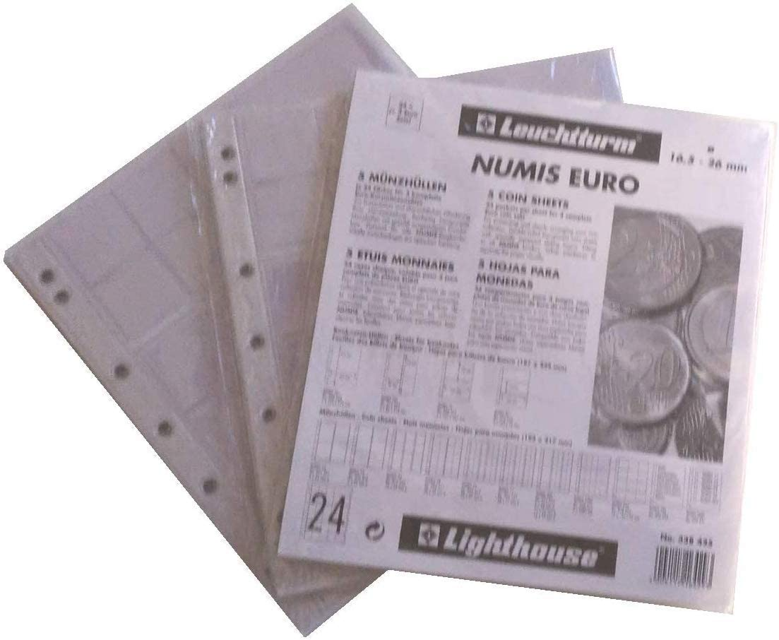 Leuchtturm 338425 Hojas para Monedas NUMIS, 3 Series Completas de Monedas de Euro - Pack 15 Hojas: Amazon.es: Juguetes y juegos