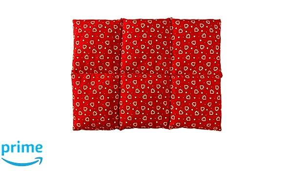 Cojín térmico para la espalda (calor y frio) | Saco térmico de semillas (40x30 rojo con corazones con 6 compartimientos, huesos de cerezas)