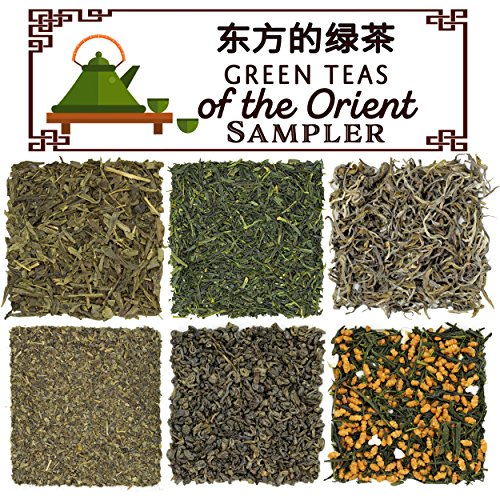 Solstice Loose Leaf Green Teas of the Orient Assortment Sampler, 6 Variety Teas From Japan & China w/Gunpowder, Genmai Cha, Chinese Sencha, Iccha Kariban, Fannings, Yunnan - Approx 90+ Cups