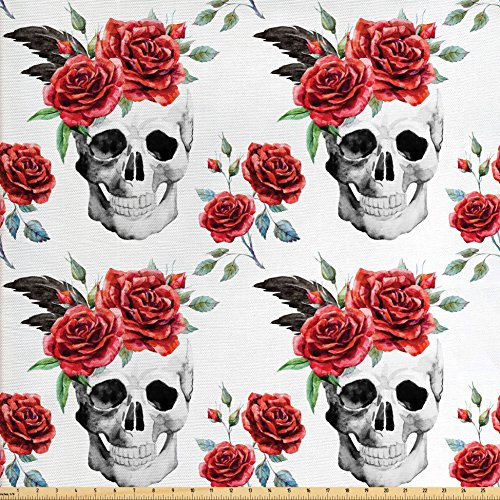 Rose Upholstery Fabric - Ambesonne Rose Fabric by the Yard, Watercolor Art Style Skull with Red Roses and Buds Gothic Halloween Pattern, Decorative Fabric for Upholstery and Home Accents, Vermilion Black Green