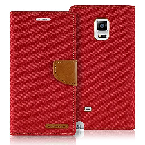 Galaxy Note EDGE Case, [Drop Protection] GOOSPERY Canvas Diary [Samsung Galaxy Note 4 Edge] Denim Material Wallet Case [ID Credit Card and Cash Slots] with Stand Flip Cover (Red) NT4E-CAN-RED by GOOSPERY
