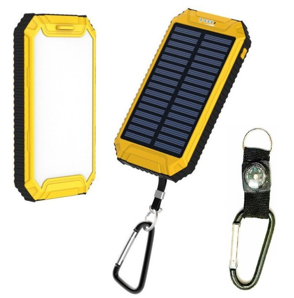 Yellow, Camping Light Waterproof 500000mAh Dual USB Portable Solar Charger Solar Power Bank For Phone