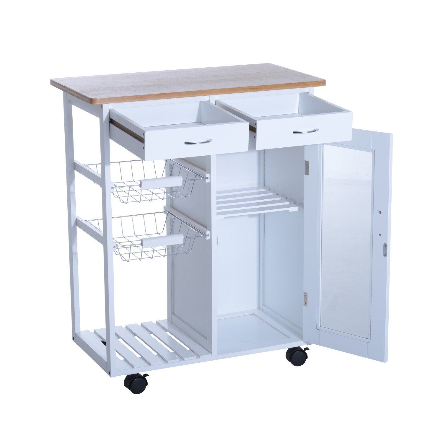 Rolling Kitchen Cart Utility Storage Island Trolley Cabinet - Drawer - Basket