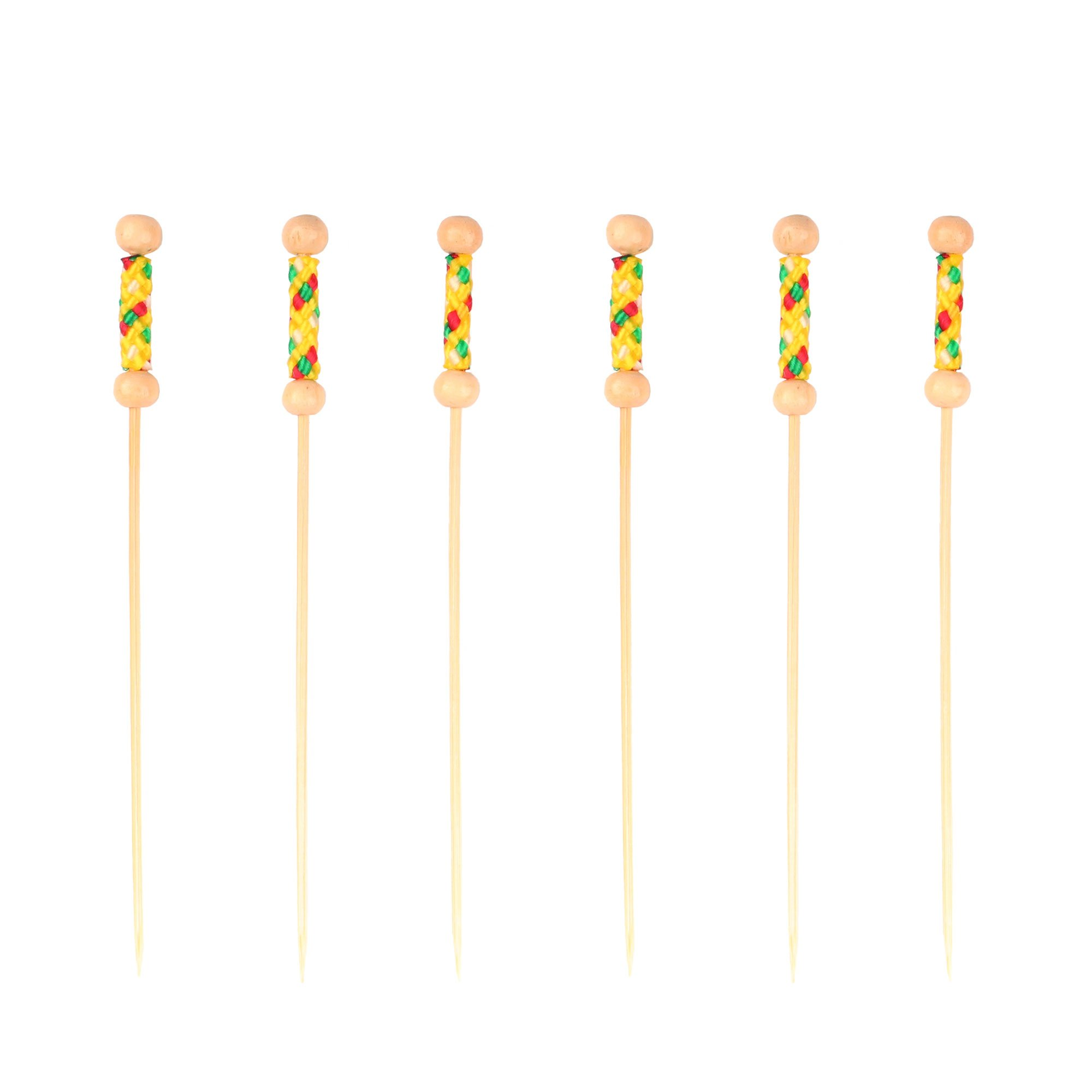 BambooMN 3.9'' Decorative Bamboo Bright Yellow Braided String Cocktail Fruit Sandwich Picks Skewers for Catered Events, Holiday's, Restaurants or Buffets Party Supplies, 1,000 Pieces