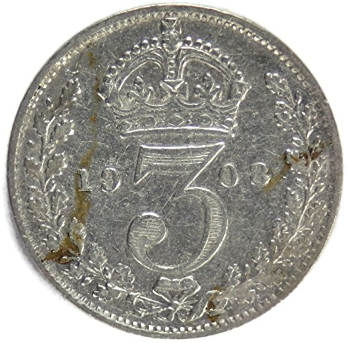 1908 UK British Silver Threepence Edward VII Threepence Very Good