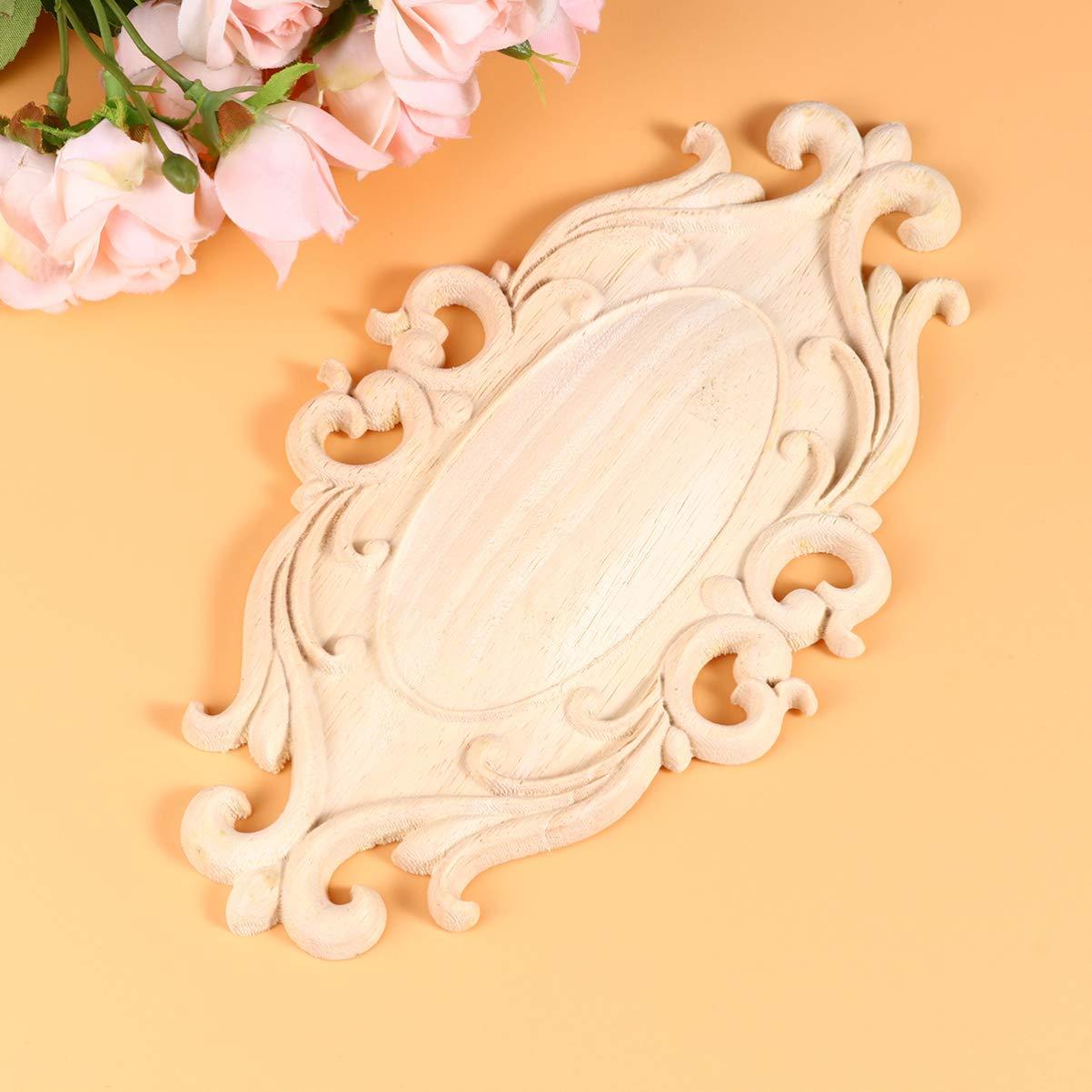 Garneck Apliques de Madera Tallada Apliques de Talla Ovalada Onlay Decoraci/ón de Muebles de Gabinete de Puerta sin Pintar S