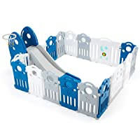 YOLENY Foldable Baby Playpen, Kids Activity Centre Safety Play Yard with Lock Door & Anti-Slip Rubber Bases, Portable Design for Indoor Outdoor Use,17 Panel