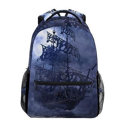 Wamika Sailing Pirate Ghost Ship Mochila Impermeable para la Escuela, Bolsa de Hombro, Mochila