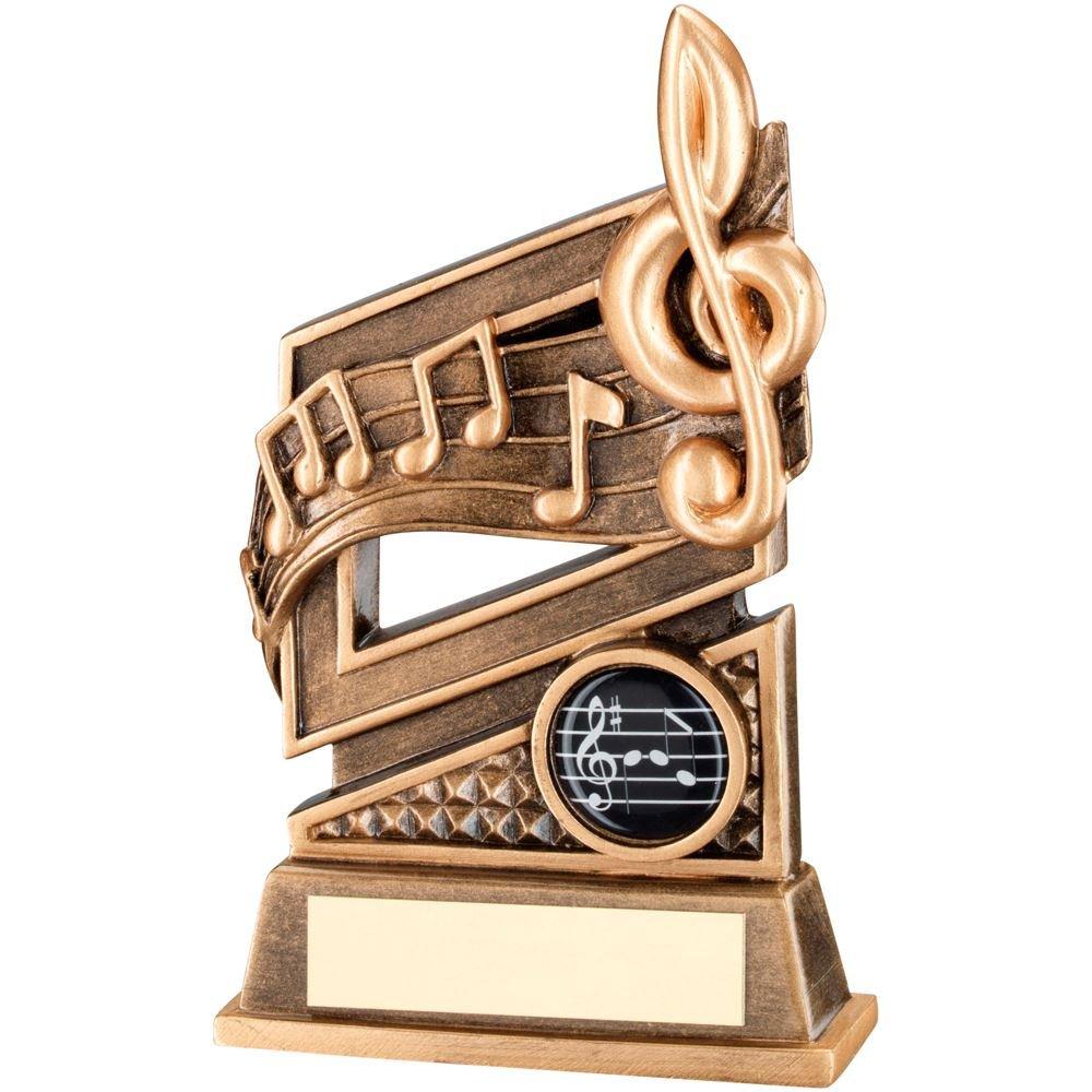 JR29-RF581 música Brz/Gold Diamond Series trofeo - (1 en el centro) en 6 incluye grabado gratis (hasta 30 caracteres) lapal dimension