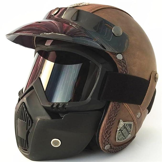 GHL Casco de Moto Retro Personalidad Locomotive Cuero Casco Mask Visera del Sol: Amazon.es: Deportes y aire libre
