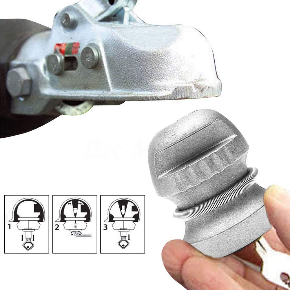 Universale gancio di traino serratura roulotte serratura per rimorchio gancio di traino serratura di sicurezza gancio di traino serratura roulotte serratura, lega di zinco, argento SUPEWOLD
