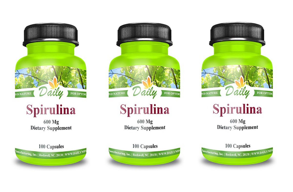 Daily Manufacturing Spirulina 600mg Dietary Supplement 100 VCaps (3)
