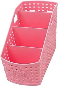 Small Pink Plastic Desktop Storage Organizer Caddy Remote Control/Pen Pencil/Makeup Holder Box for Kitchen Office Desk Home Bathroom(4 Compartments)