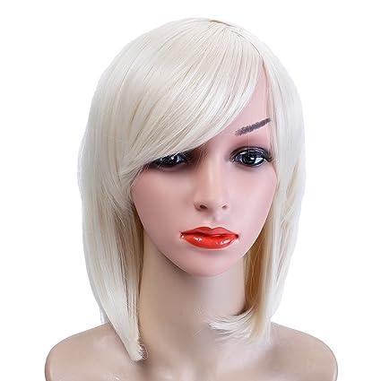 Shangke Peluca de pelo de oro pálido estilo corto recto peluca resistente al calor pelo sintético