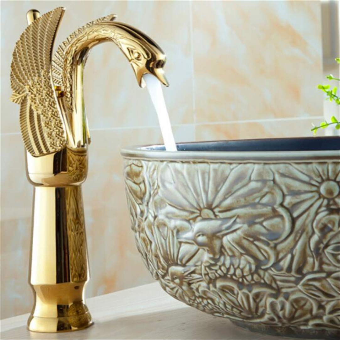 Faucet Washbasin Mixer Fashion High Quality gold Art Carved Cold and Hot Single Lever Bathroom Swan Looking Sink Faucet Basin Faucet