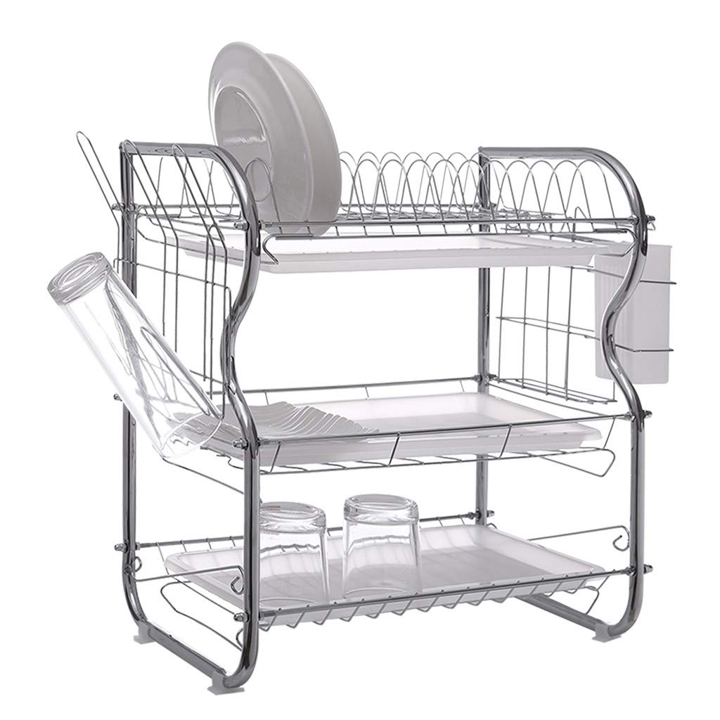 3 Tier Dish Drying Rack Kitchen Organizer with Drain Board, Chrome Finished Steel, WONdere