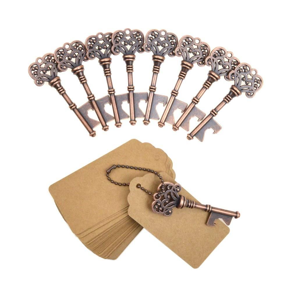 DerBlue 60 PCS Key Bottle Openers,Vintage Skeleton Key Bottle Opener,Skeleton Key Bottle Openers Wedding Favors Antique Rustic Decoration with Escort Tag Card (Bronze)