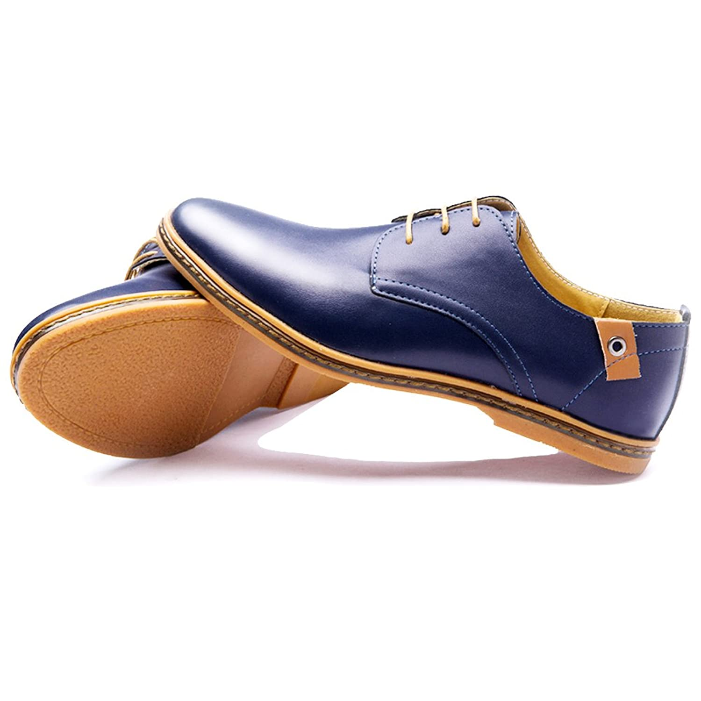 Blivener Casual - Zapatos de cordones de Piel Sintética para hombre, color azul, talla 43.5 EU