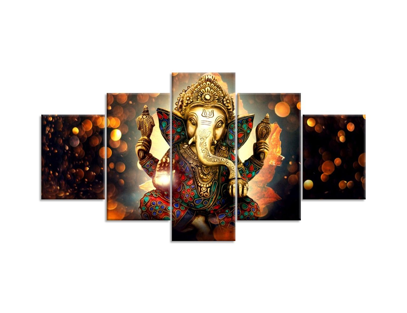 Hindu ganesha canvas painting wall art for living room decorative painting modern home decor 5pcs wall art hd print hindu god ganesha elephant picture