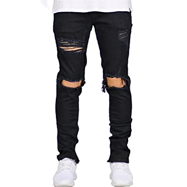 1822415e776 Cute Demi Men s Zipper Stretch Skinny Jeans Casual Hip Hop Hole Ripped  Distressed Destroyed Jeans at Amazon Men s Clothing store