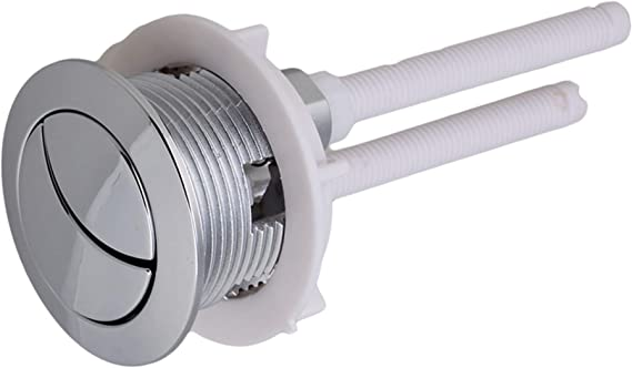 48mm Standard Chrome Plated Silver Flush Toilet WC Tank Push Buttons With 2 Rods by NIL