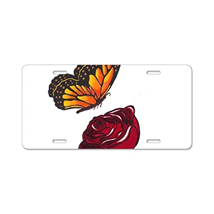 License Plate Covers & Frames YEX Large White Butterfly License Plate Frame with 4 Holes Novelty Car Licence Plate Covers Auto Tag Holder Tag Sign 12 x 6