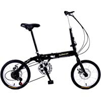 Modzye Mini Folding Bicycle 16 inch Variable Speed Men Women Adult Students Children Outdoor Sport Bike