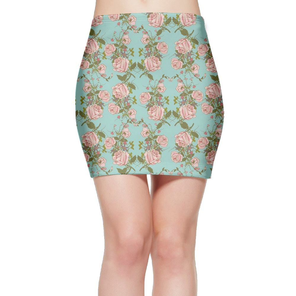 Women's Roses Floral Glass Slim Fit Mini Bodycon Tight Skirt by Suining