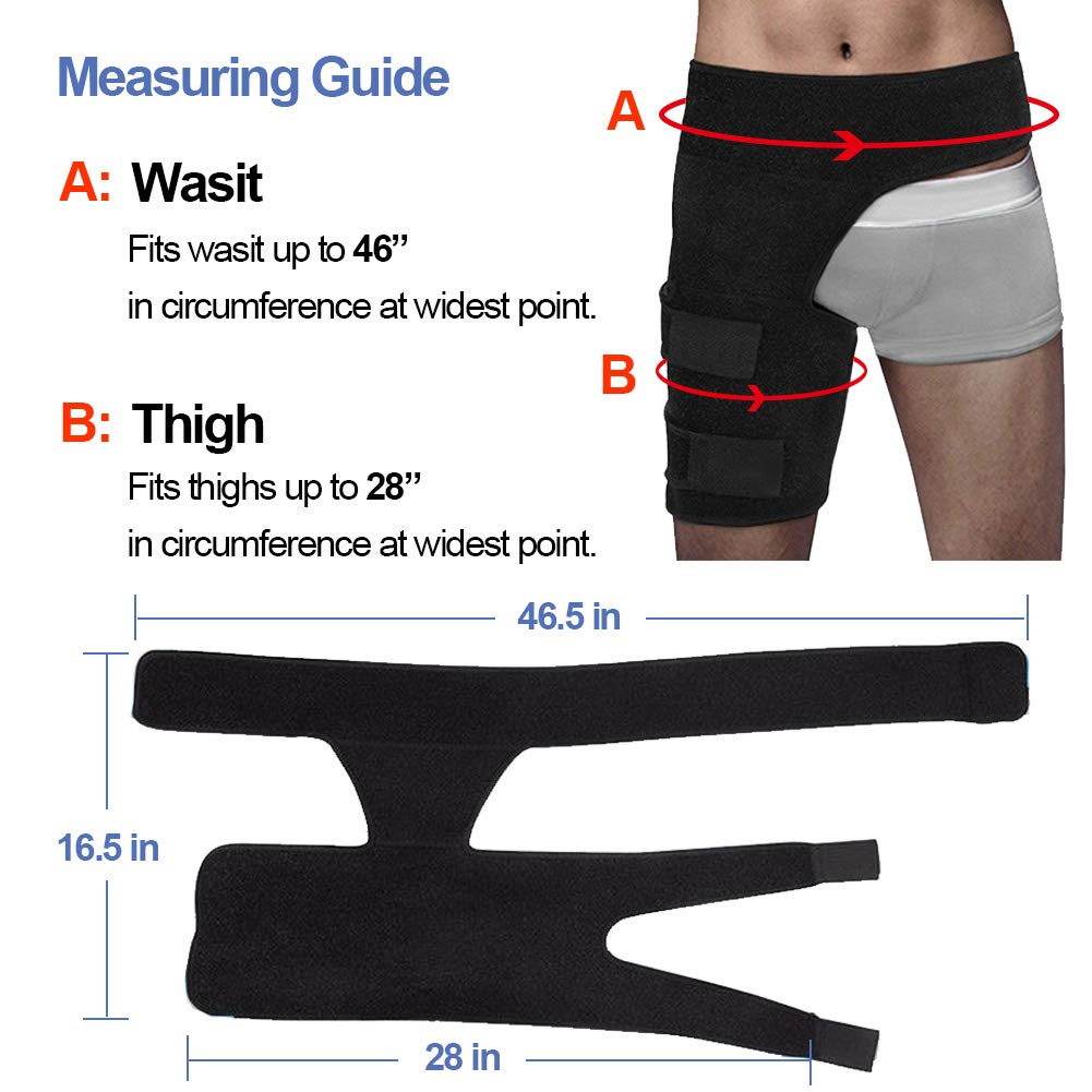 Beister Men and Women Adjustable Hip Groin Stabilizer and Hip Brace for Sciatica Pain Relief, Thigh Leg Compression Support Wrap Sleeve for Pulled Muscles, Hip Joint Pain, Quad Hamstring Joints Recove
