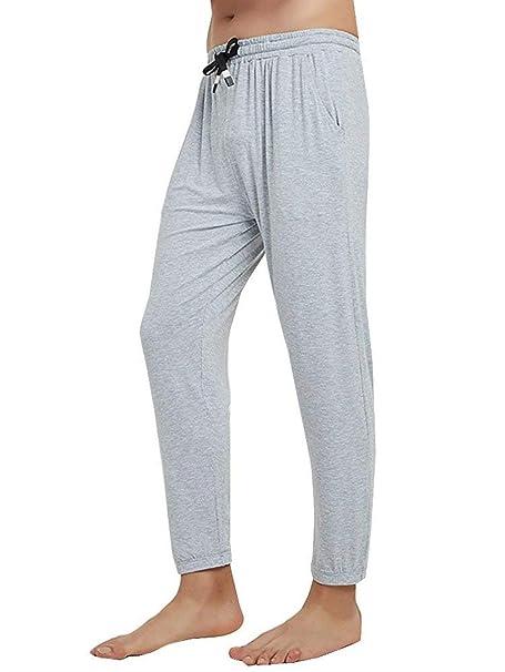 Pantalones De Pijama De Los Largos Pantalones Cintura Pantalones Hombres Casuales Elástica Cómodo Joven Loungewear Pantalones De Pijama Night Warmse Sche: ...