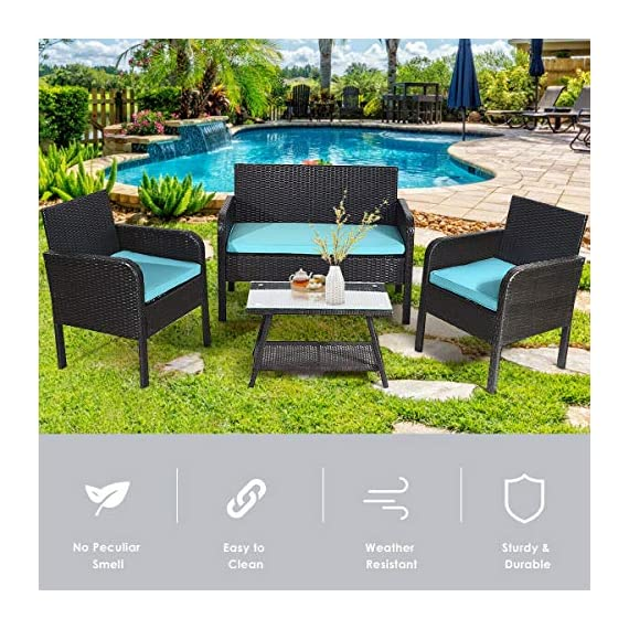 Tangkula 4 Piece Patio Outdoor Conversation Set with Glass Coffee Table, Loveseat & 2 Cushioned Chairs Garden Lawn Rattan Wicker Patio Chat Set Outdoor Furniture Set (Blue) (1) - Sturdy Frame & Hand-Woven Rattan: Our 4-piece patio furniture set is made of superior steel and premium PE rattan that ensures the stability and durability. And the exquisite craftsmanship improves overall weight capacity. Besides, the set can withstand moderate wind or rain. Ergonomic Chair with Waterproof Cover: At the front of the armrest, the corner is designed in round which accord with your line of hand and wrist. And the height of armrest is not too high or too low to relax your hand or arm. What's more, the zippered cover of the cushion can be removed from cushion and cleaned conveniently. Glass Top Table with Shelf: The tempered glass is fixed by 4 suckers and it won't move freely. And the top is removable so that it is easy to clean if the top is dirty. Besides, the lower shelf can provide additional storage space for you to store some sundries. At the bottom of the table, there are 4 pads to prevent slip and protect ground. - patio-furniture, patio, conversation-sets - 61crhPAAtSL. SS570  -
