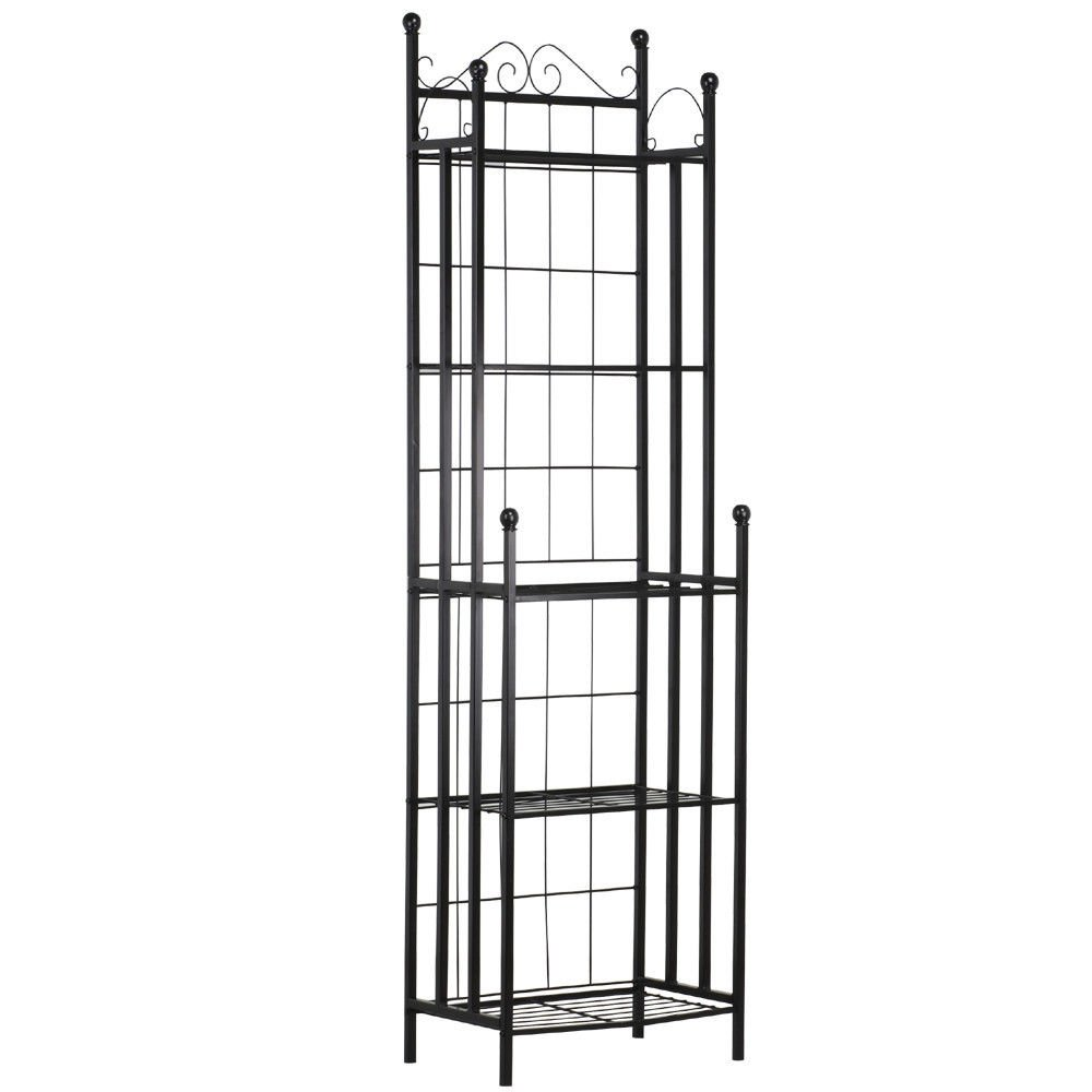 New Black Bakers Shelves Rack Metal Storage Display Traditional Home Kitchen 5-Tiers