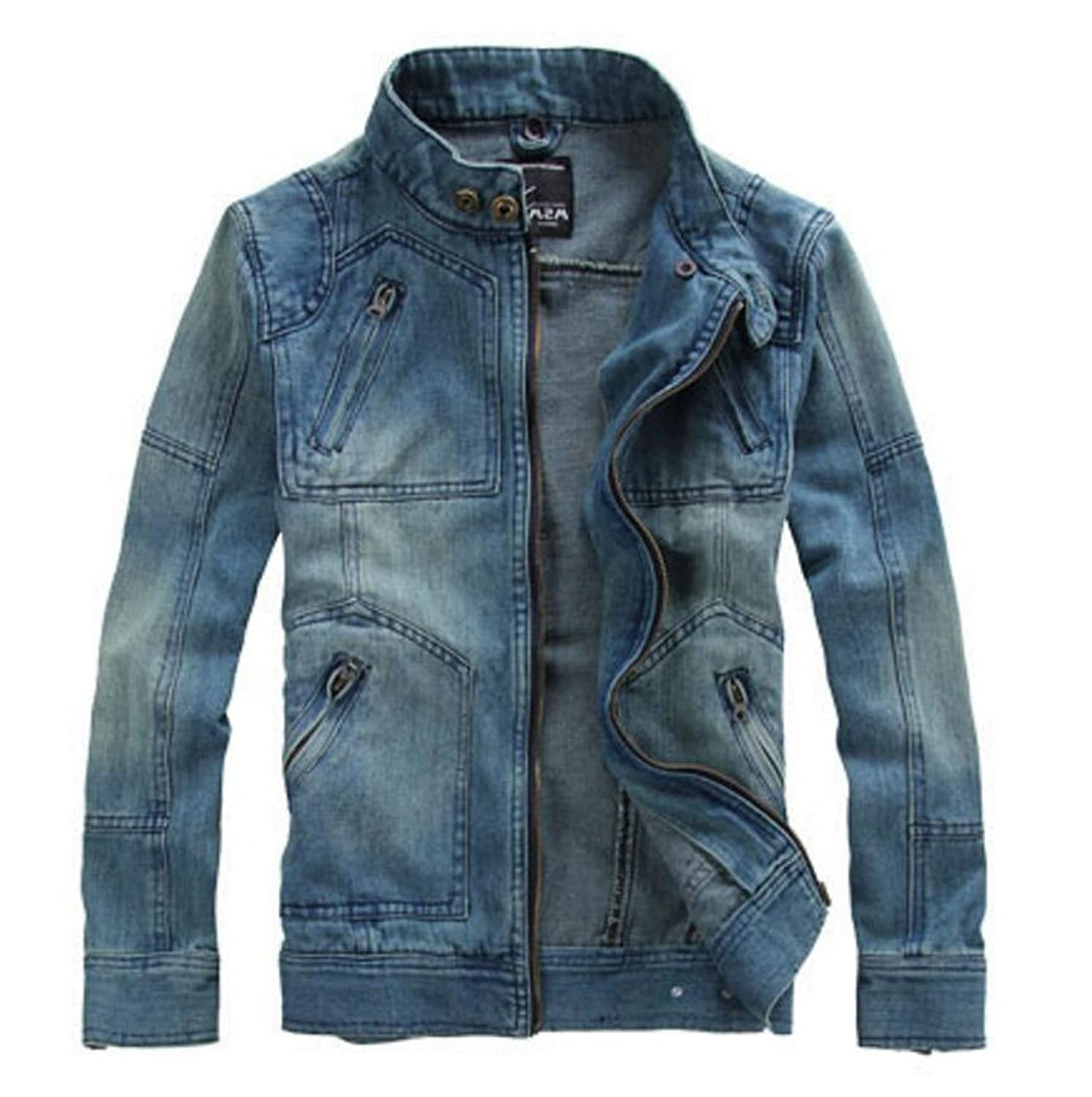 MR. R Men's Denim Jackets With Removable Hood Light Blue at Amazon ...