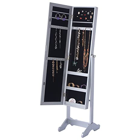 Mirrored Jewelry Cabinet Organizer Storage Box Stand Closet Hanging Women  Gifts