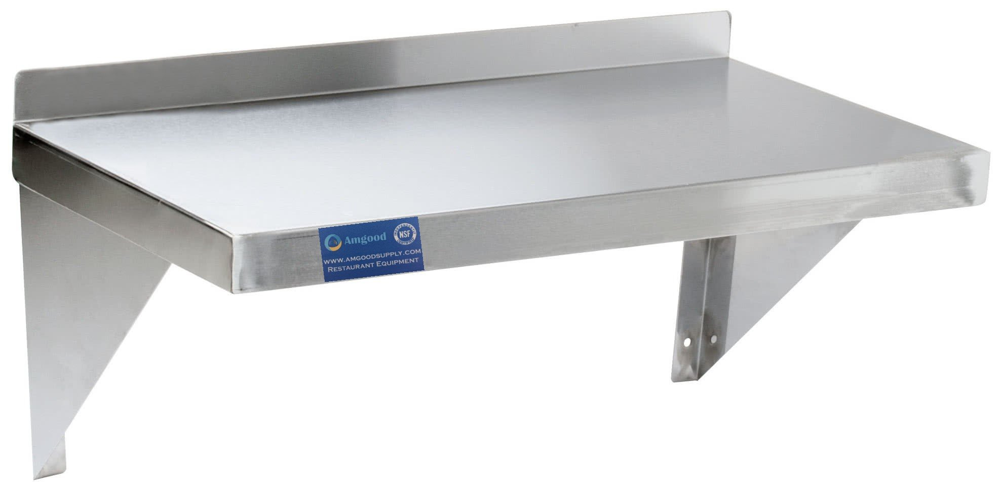 AmGood Stainless Steel Wall Shelf - Heavy Duty, Commercial Grade, Wall Mount, NSF Certified (18'' Width x 48'' Length)