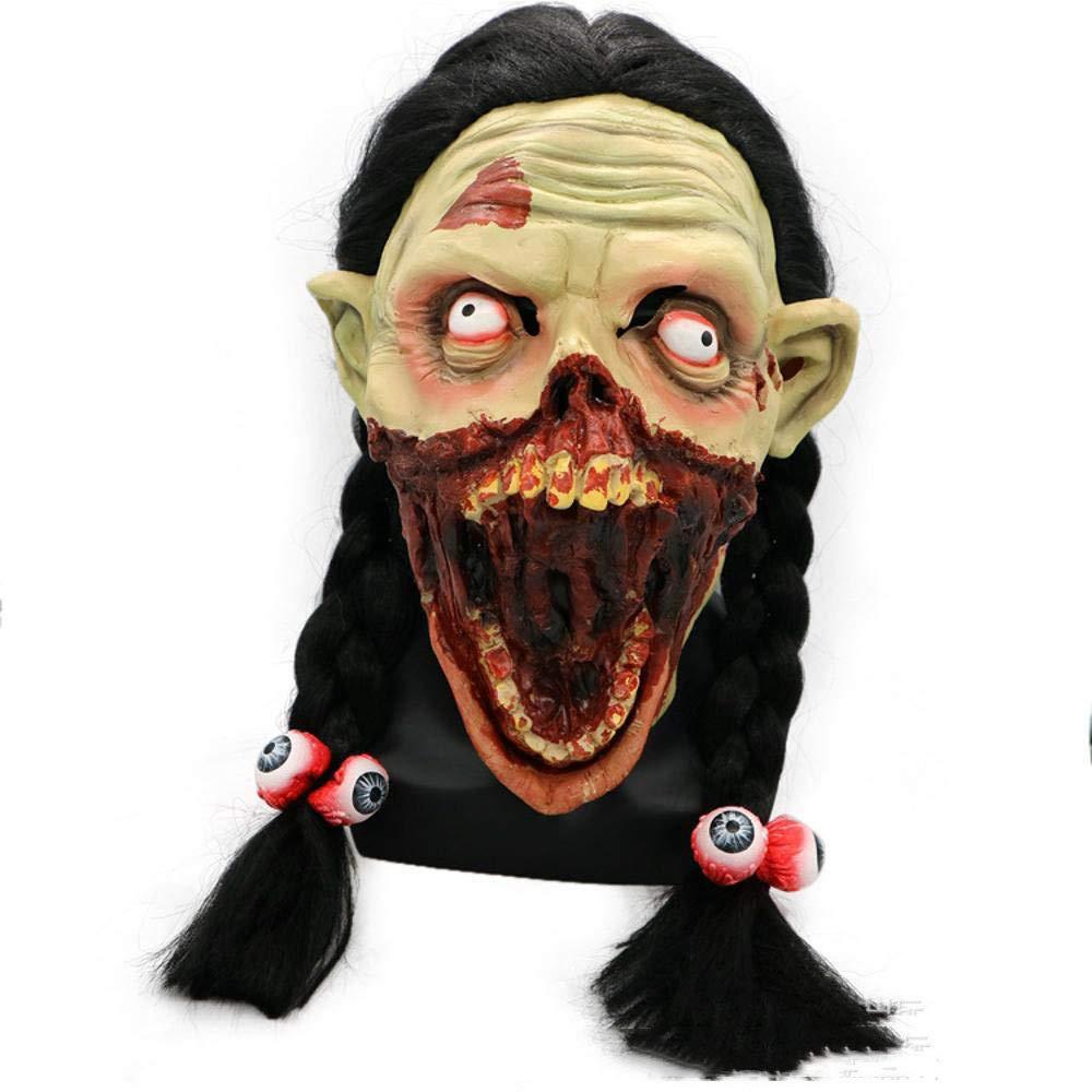 Circlefly Ragazza di Halloween viso maschera pigtail lungo ragazza brutta bocca maschera horror spaventoso cadavere cranio zombie Head Set