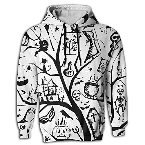 Halloween Witch Ghost Cat Pumpkin TombstoneAthletic Long-sleeved Hoody Fashion Fleeces 3D Printed Personality Sweatshirt For (Cat Halloween Pumpkin Carving Stencils)