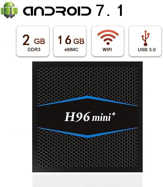 WFGZQ Android7.1 TV Box,Mini Android Smart TV Box [2GB ROM + 16GBROM] CPU de Cuatro núcleos S905,WiFi 2.4 Bluetooth 4.0 / USB 3.0 / 4K Ultra HD TV Box: Amazon.es: Hogar
