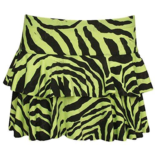 falda corta de mini rara sexy de las mujeres de chica de janisramone Zebra Neon Yellow