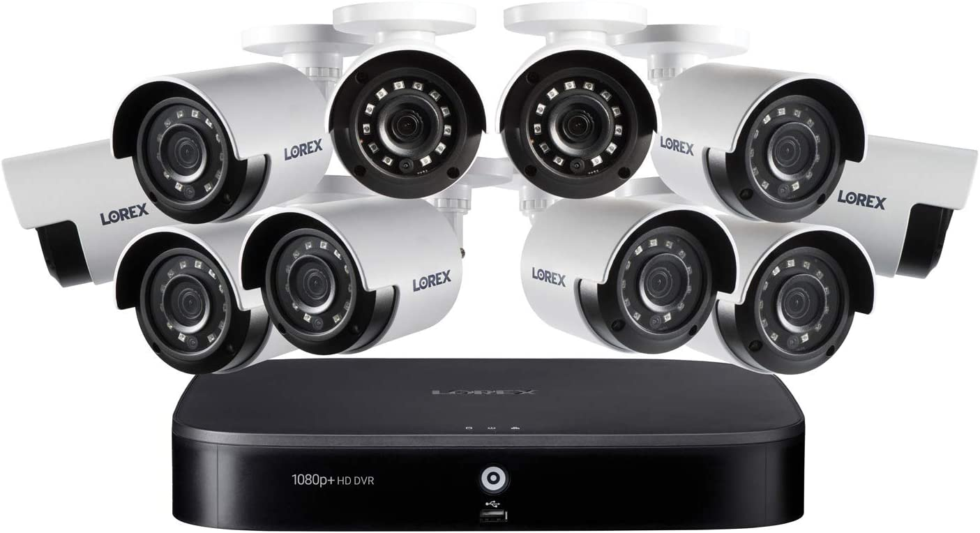 Lorex DK162-A8CA 4K Ultra HD 16-Channel Security System with 2 TB DVR and Ten 4K Ultra HD Color Night Vision Bullet Cameras with Smart Home Voice Control