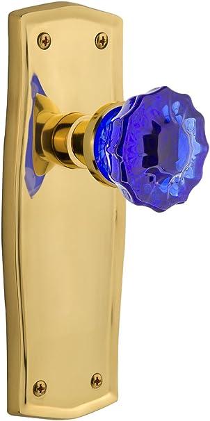 Nostalgic Warehouse 723501 Prairie Plate Double Dummy Crystal Cobalt Glass Door Knob In Unlaquered Brass Amazon Com